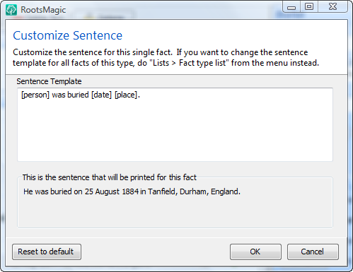 Customize sentence