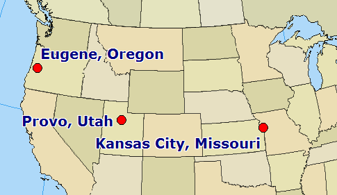 Kansas City, Missouri; Provo, Utah; Eugene, Oregon